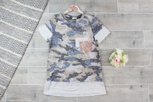 Camo Knit Top with Party Pocket