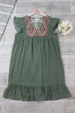 Embroidered Polka Dot Shift Dress