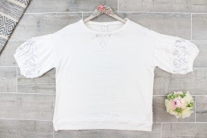 Lace Bubble Sleeve Top