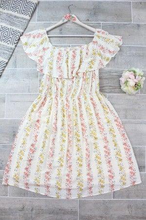 Swiss Dot Floral Off Shoulder Dress