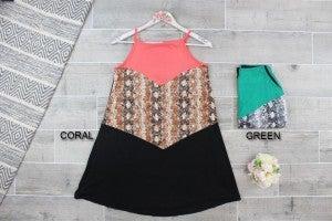 Snakeskin Contrast Cami Dress