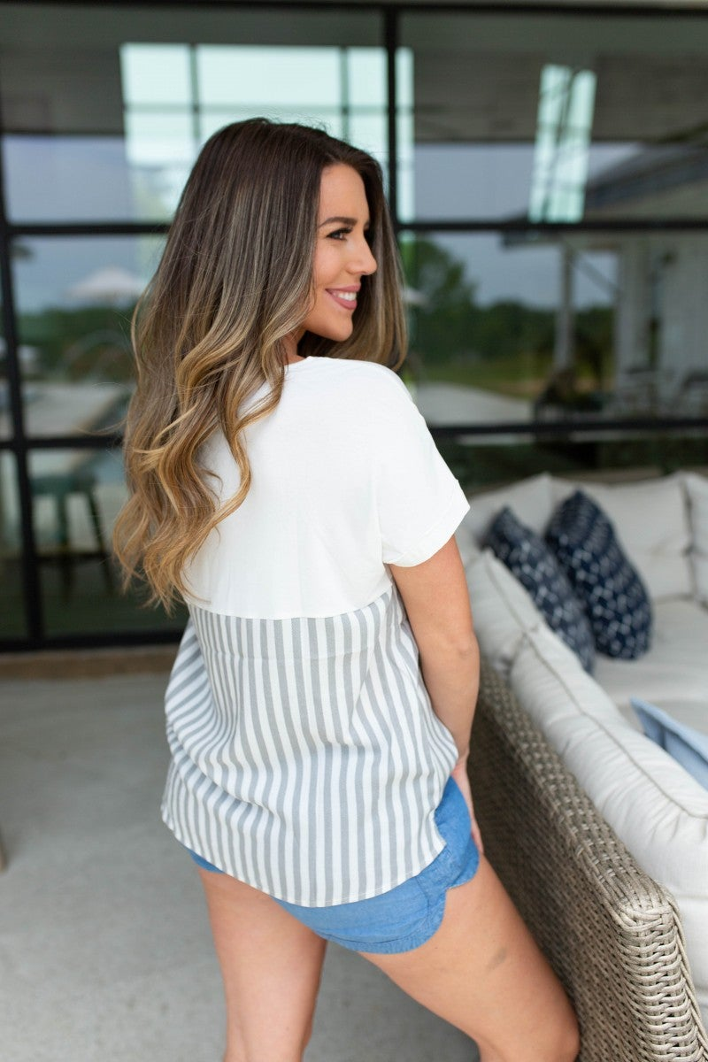 The Macy Striped Pocket Top