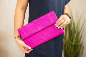 Python Silver & Pink Clutch
