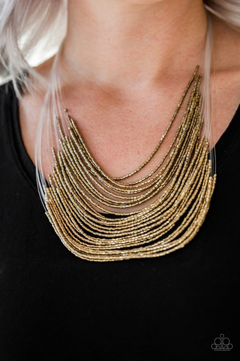 Cat Walk Queen - Brass Seed Bead Necklace