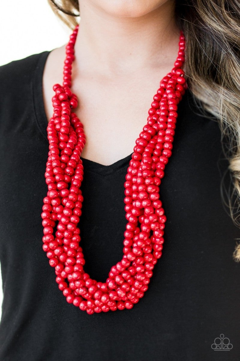 Tahiti Tropic - Red Wooden Necklace