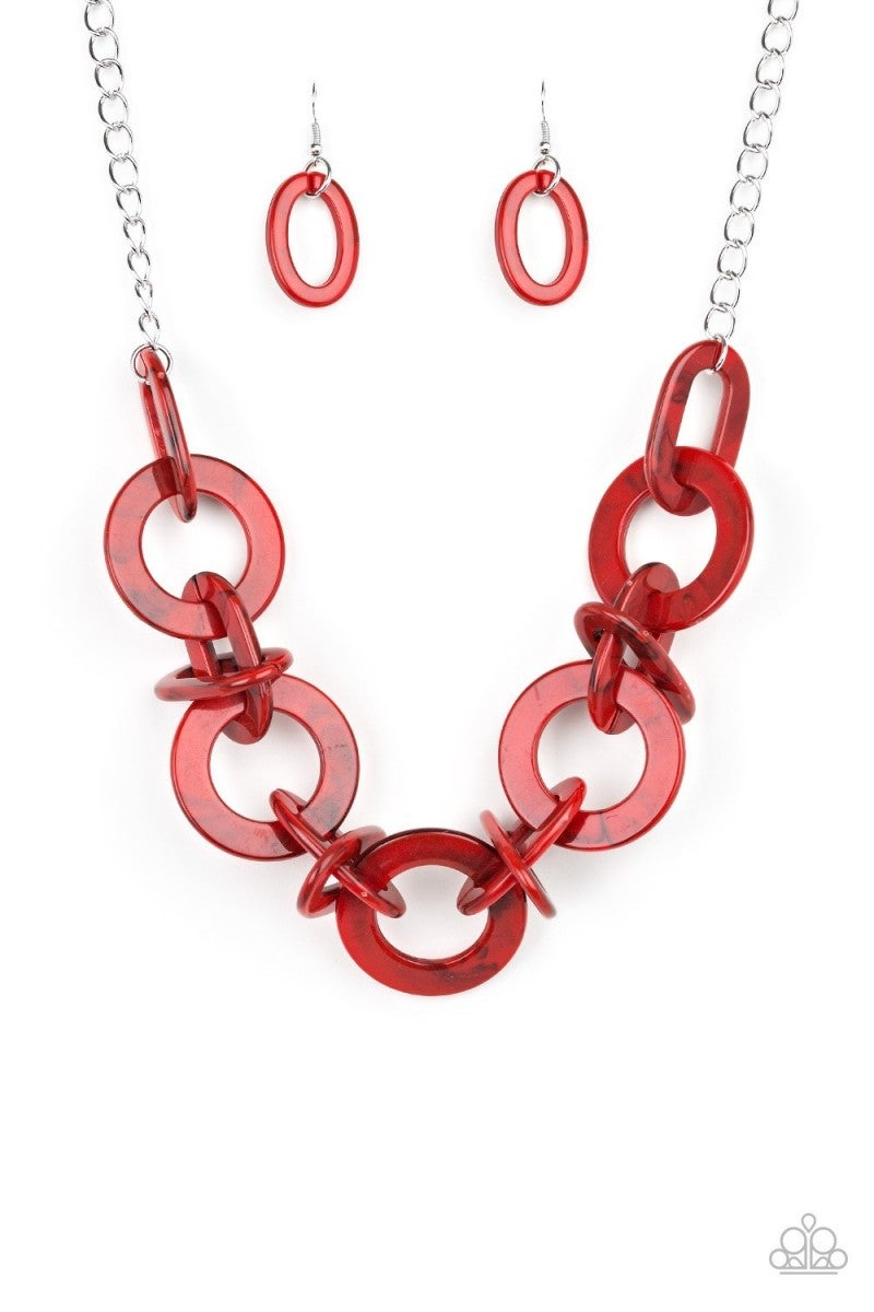 Chromatic Charm - Red Acrylic Necklace