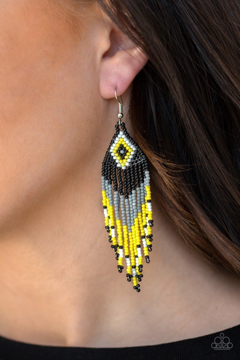 Wind Blown Wanderer - Multi/Yellow Seed Bead Earrings