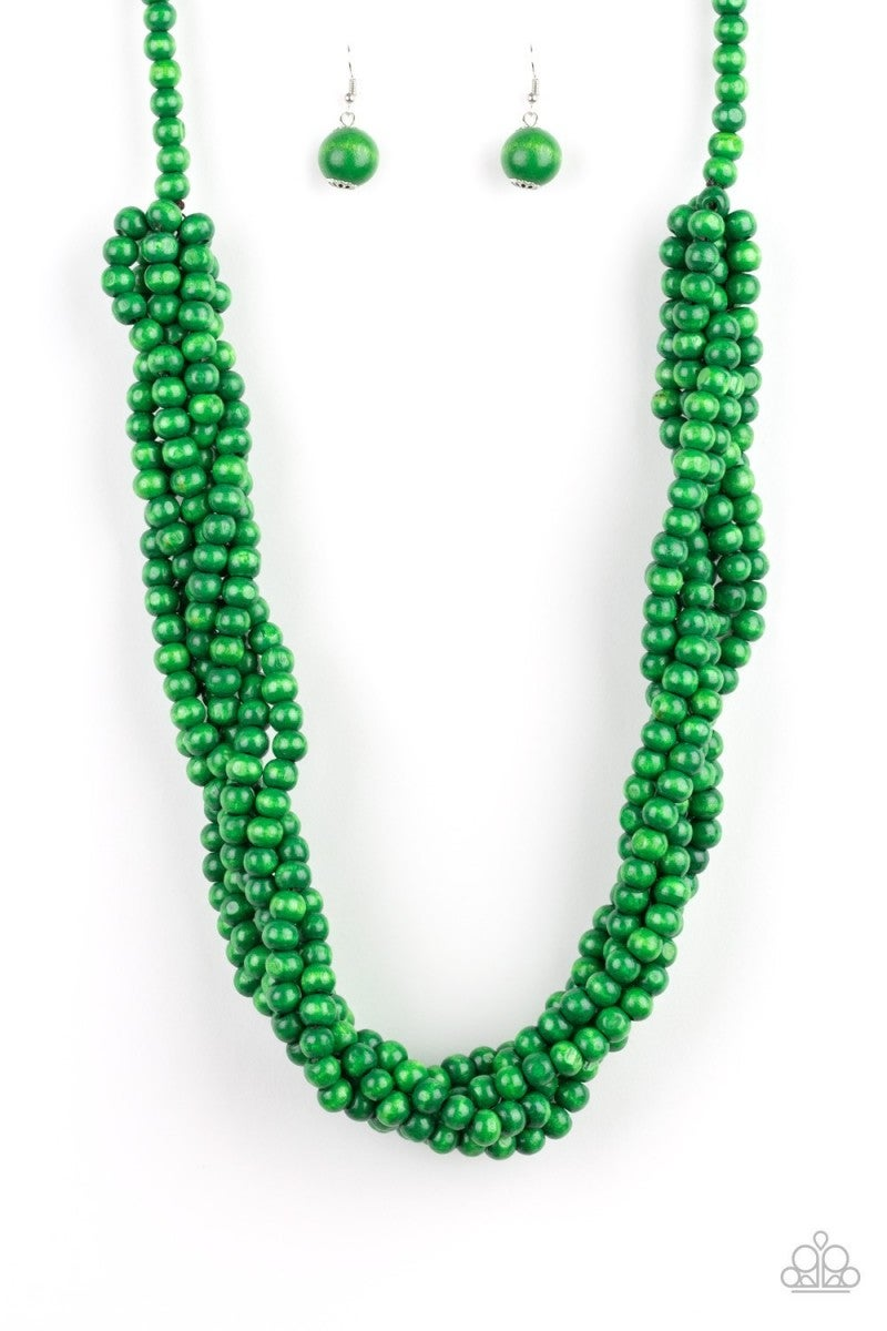 Tahiti Tropic - Green Wooden Necklace