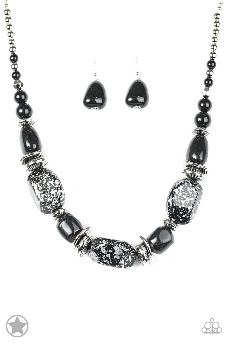 In Good Glazes - Black Blockbuster Necklace