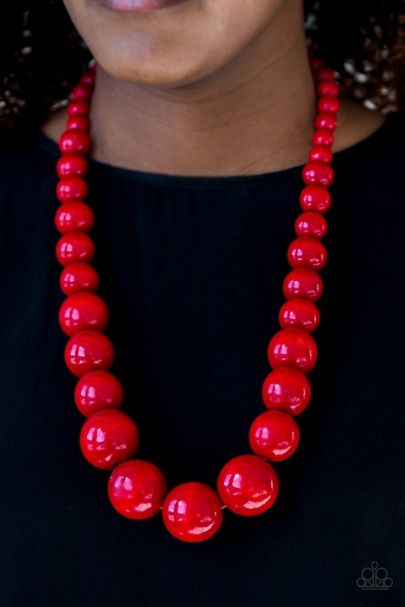Effortlessly Everglades - Red Wooden Necklace