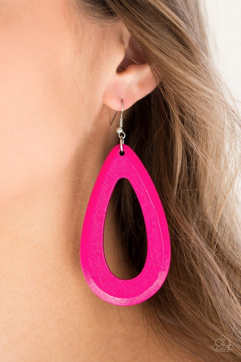 Malibu Mimosas - Pink Wooden Earrings