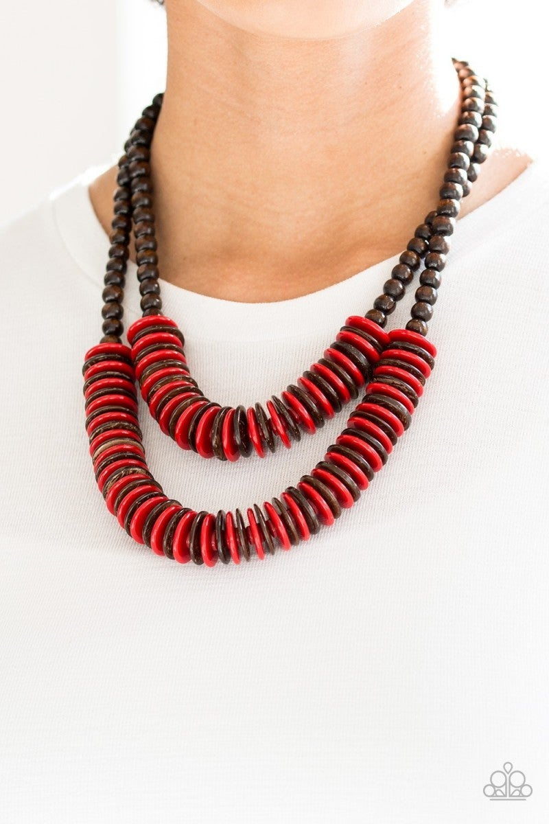 Dominican Disco - Red Wooden Necklace