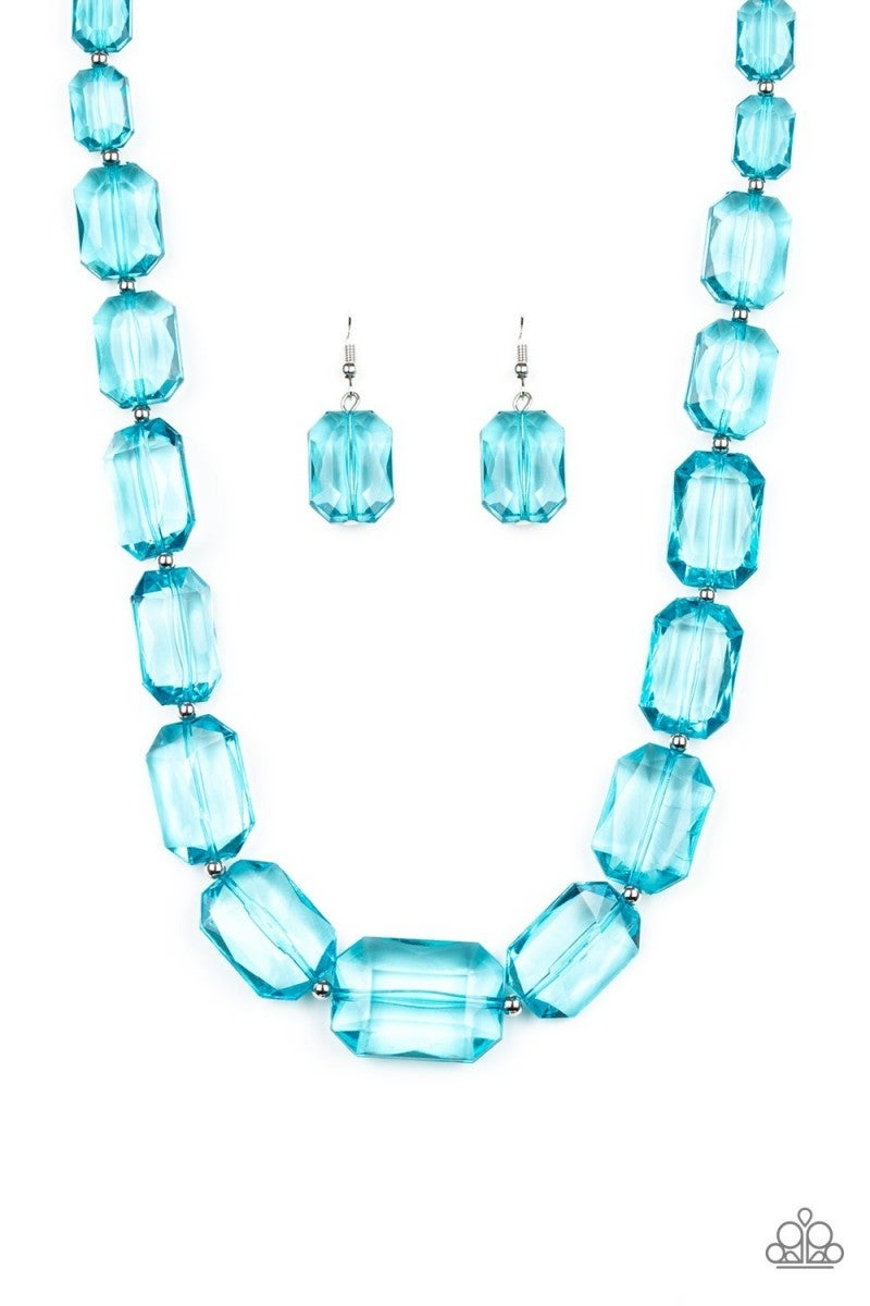 Ice Versa - Blue Acrylic Necklace