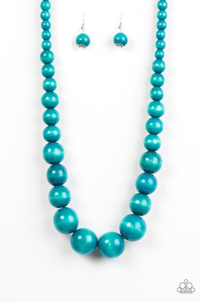 Effortlessly Everglades - Blue Wooden Necklace