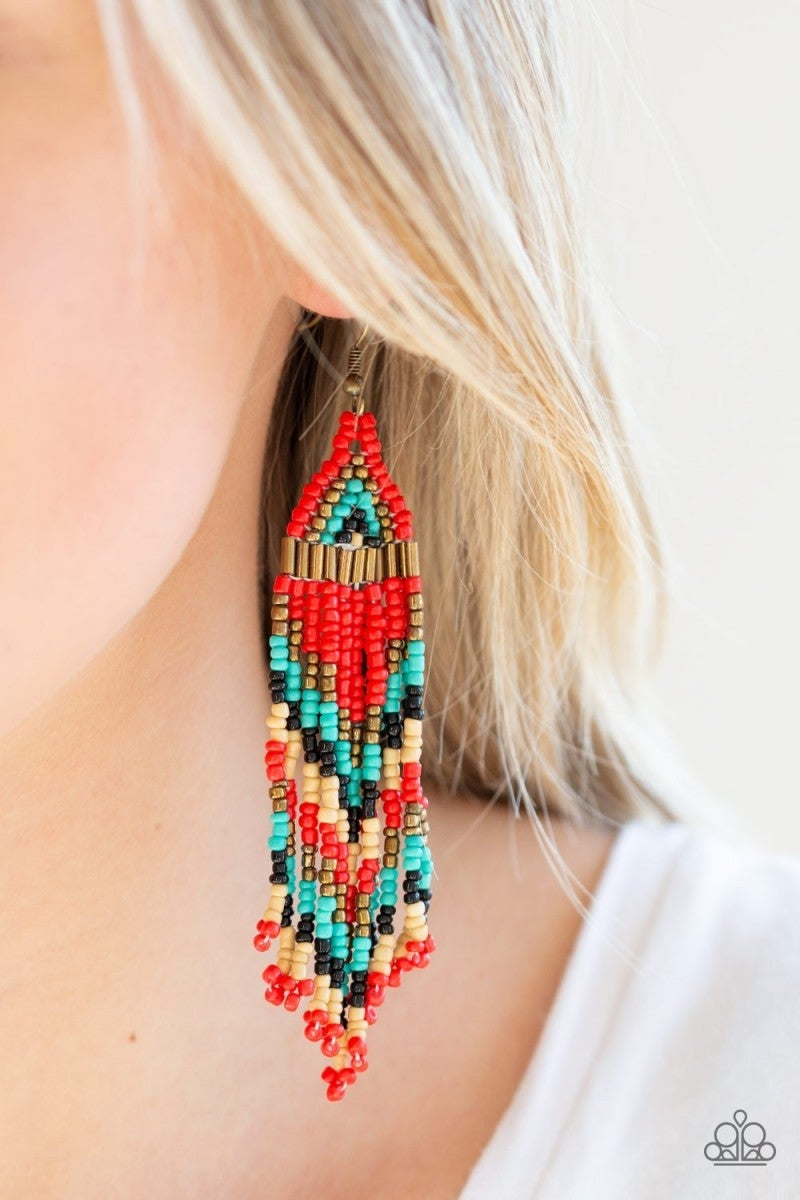 Colors Of The Wind - Red Seed Bead Earrings