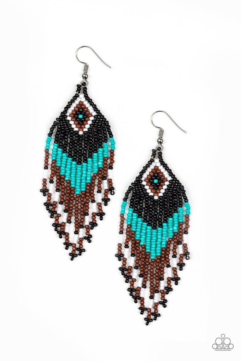 Wind Blown Wanderer - Blue Seed Bead Earrings