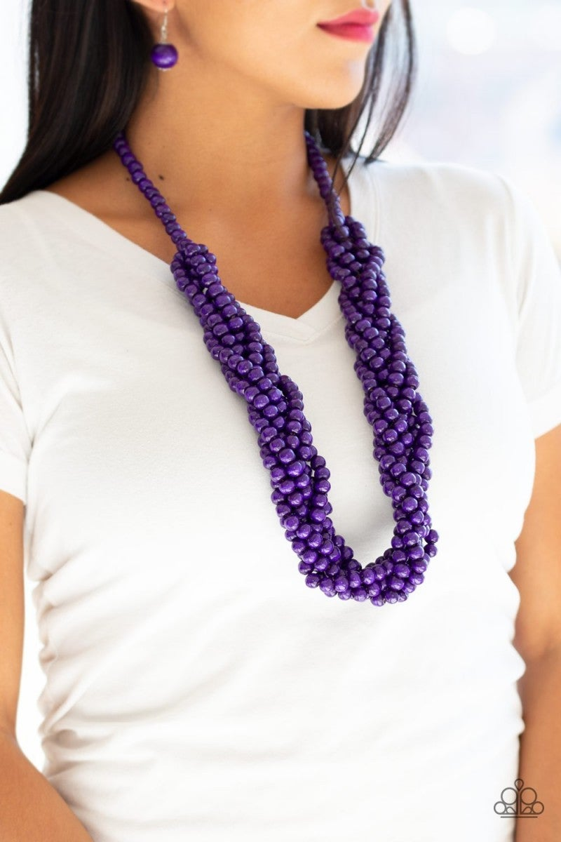 Tahiti Tropic - Purple Wooden Necklace