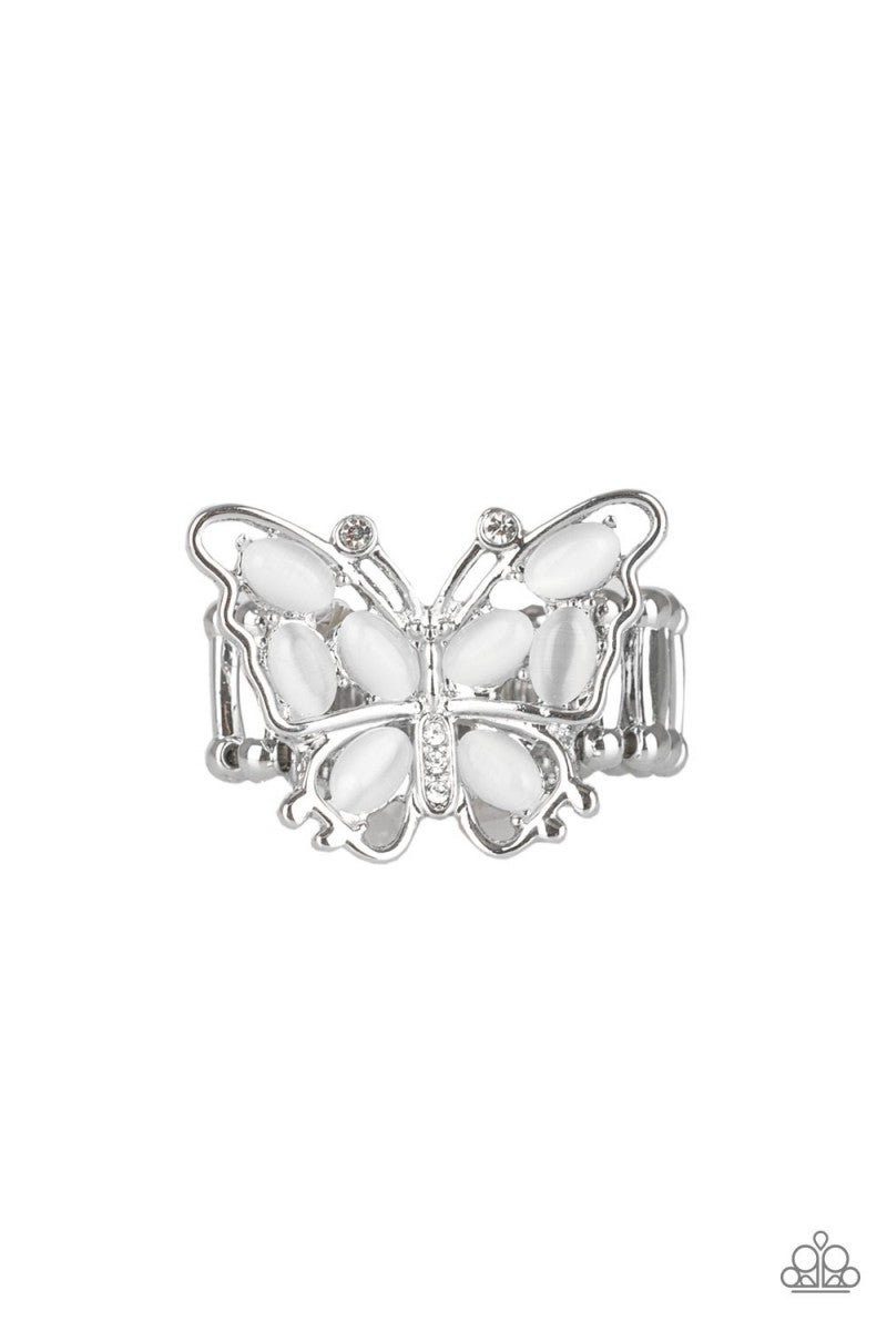 Flutter Flair - White Butterfly Ring