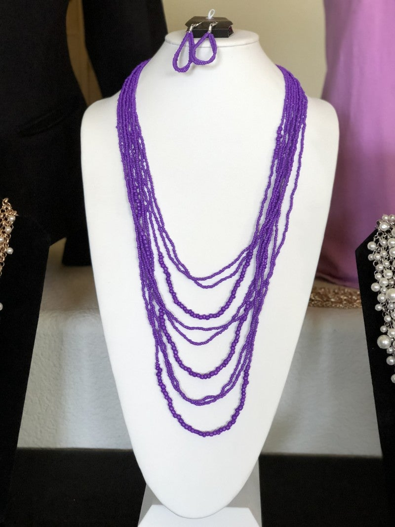 Totally Tonga - Purple Seed Bead Necklace