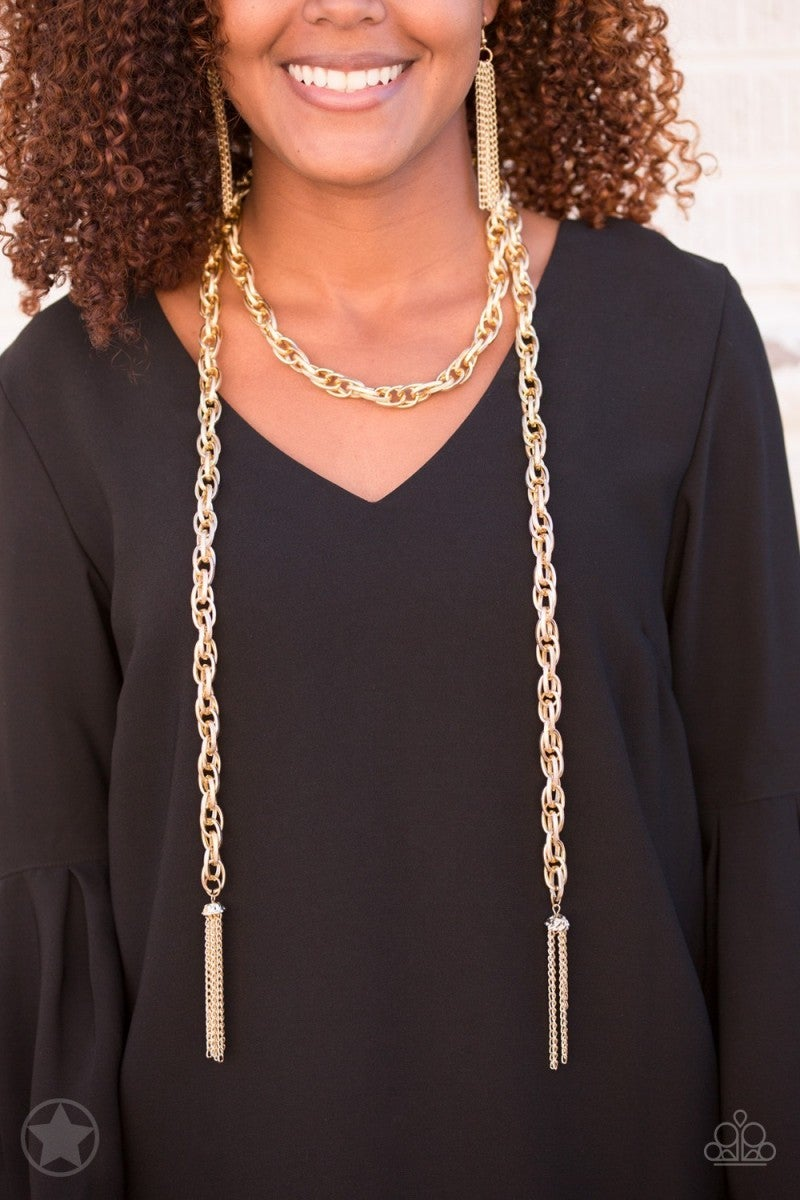 Scarfed For Attention - Gold Blockbuster Necklace