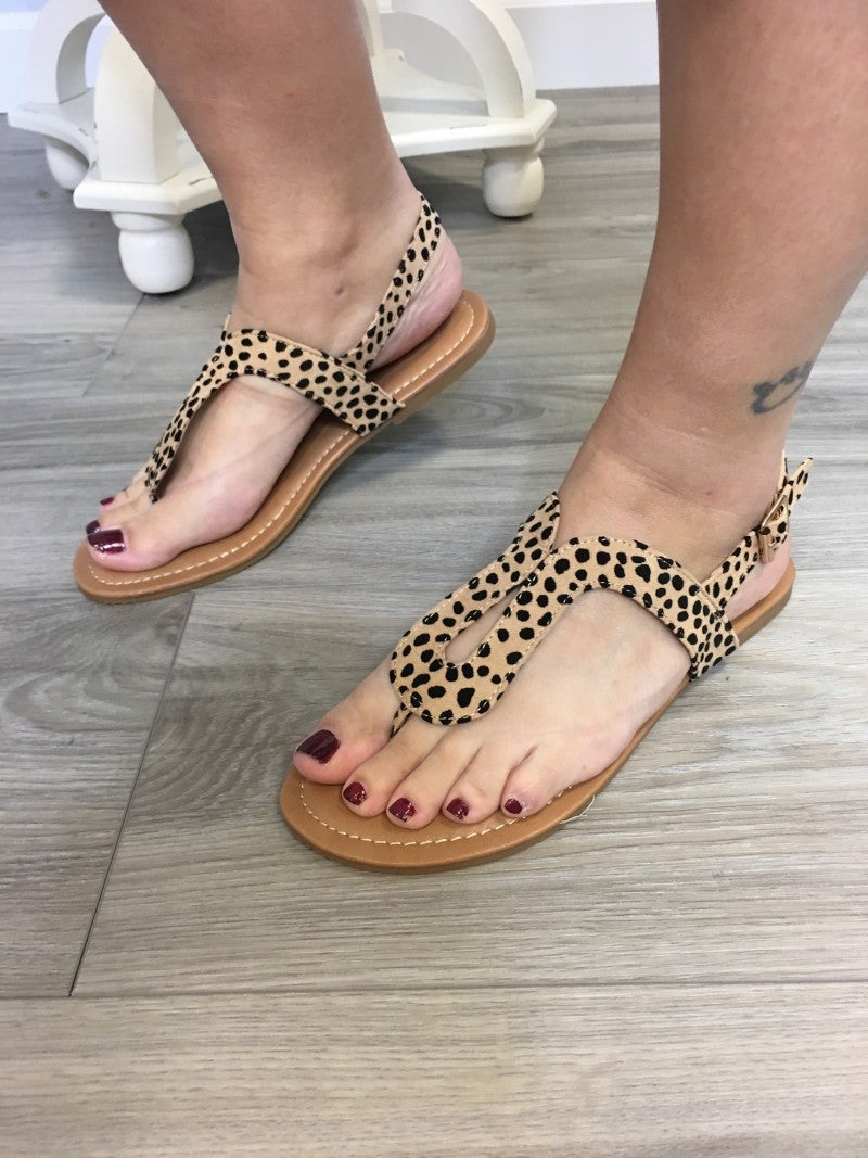 Spotted Leopard Dipped Sandals