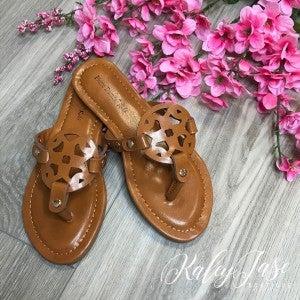 Kids Tan Cutout Sandals