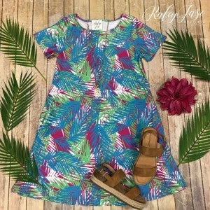 Blue Tropical Short Sleeve Dress