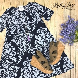 Navy Damask Short Sleeve Dress