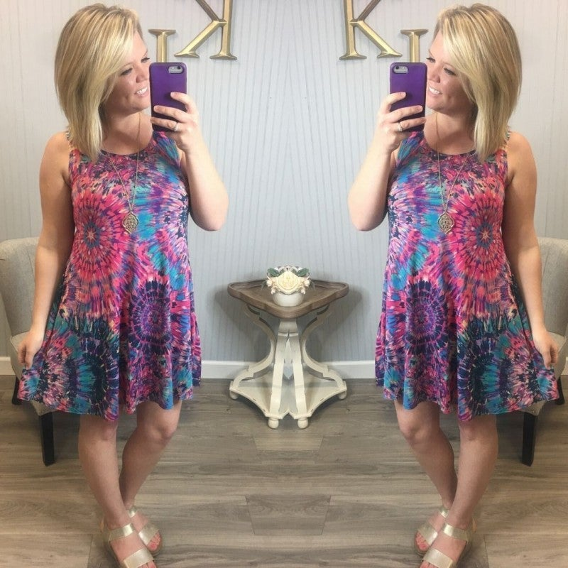 Fuchsia Multi Burst Dress