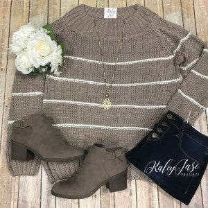 Mocha Ribbed Striped Sweater