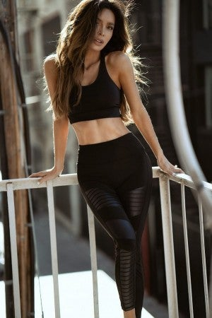 Black Motto Workout Leggings