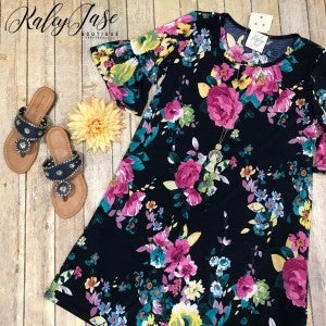 Navy Fuchsia Floral Ruffle Sleeve Dress
