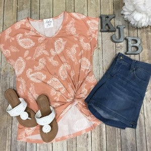 Coral Paisley Twist Top