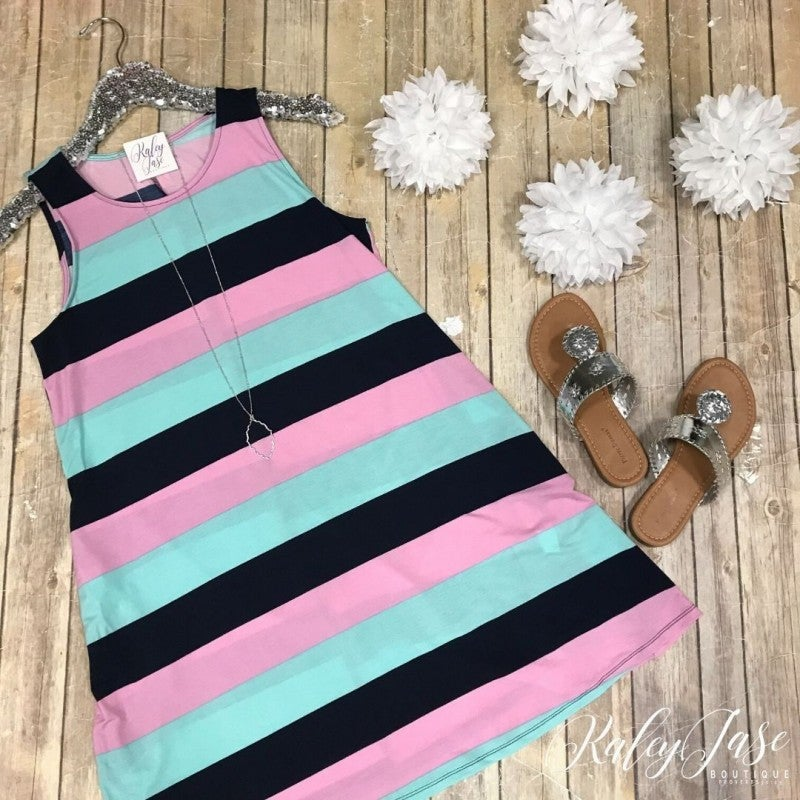 Stripe Sleeveless Tie Back Dress