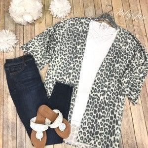 Sage Leopard Cardigan