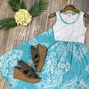 Mint Damask Bottom Lace Top Maxi