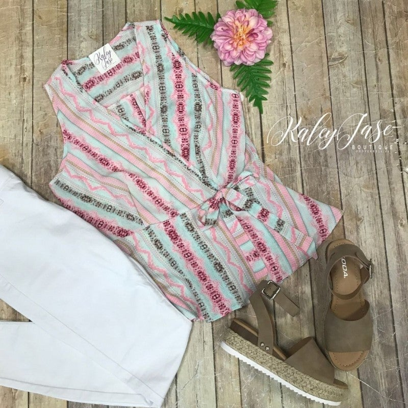Pink/Mint Printed Design Wrap Top