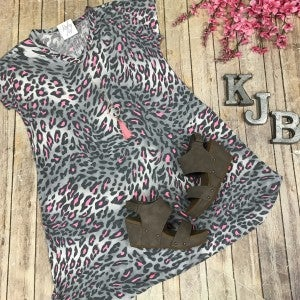 Grey & Pink Leopard Dress