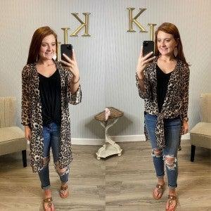 Leopard Sheer Kimono