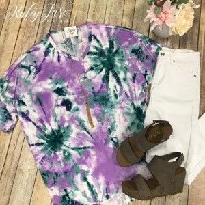 Lilac OverSized Tie Dye Top