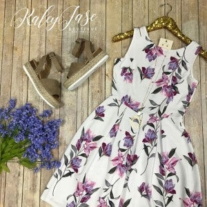 Ivory Lavender Floral Dress