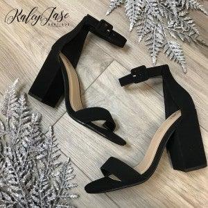 Black Anklet Strap Heel