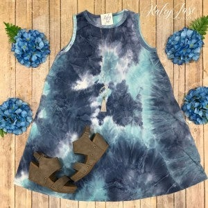 Blue Tie Dye Sleeveless Dress