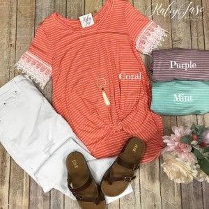 Stripe Lace Crochet Sleeve Top