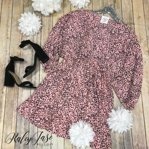 Blush Leopard Tiered Dress