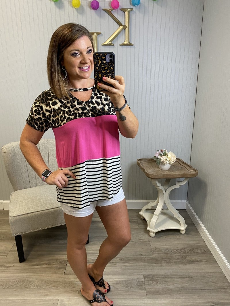 Leopard Colorblock Stripe Keyhole Top