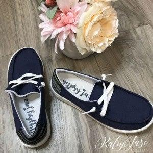 Very G Navy Slide on Shoe