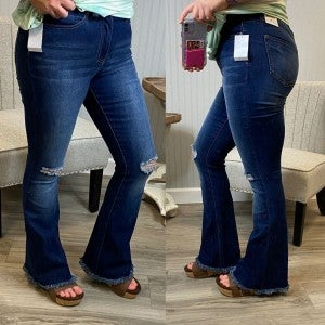 Dark High Rise Distressed Flare Jeans