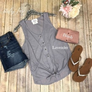 Ribbed Button Tie Tank