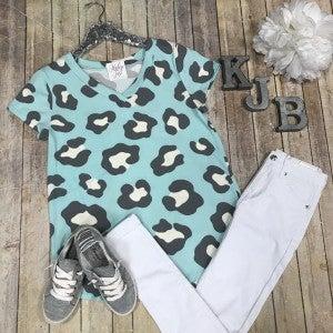 Mint Soft Leopard Vneck Top